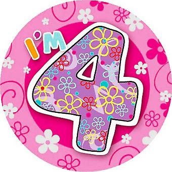 Expression Factory Childrens Girls I Am 4 Today Giant Badge
