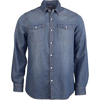 Kariban heren Casual Denim Shirt met lange mouwen