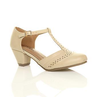 Ajvani womens mid low block heel t-bar brogue comfort rubber sole court shoes sandals