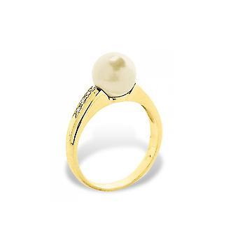 Kultainen kulttuuri Pearl-naaras rengas, timantit 0,06 CTS ja keltainen kulta 375/1000
