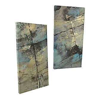 Blue and Brown Contemporary Stone 2 Piece Canvas Print Set