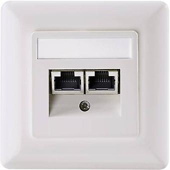 Setec 501286 Network outlet Flush mount Insert with main panel and frame CAT 5e 2 ports Oyster white