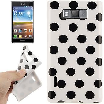 Protection points TPU cas d'affaire pour mobile LG Optimus L7 / E705 blanc/noir