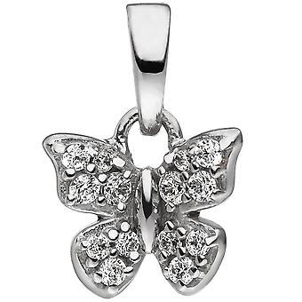 Los niños remolque plata 925 mariposa con remolque de niño zirconia cúbico