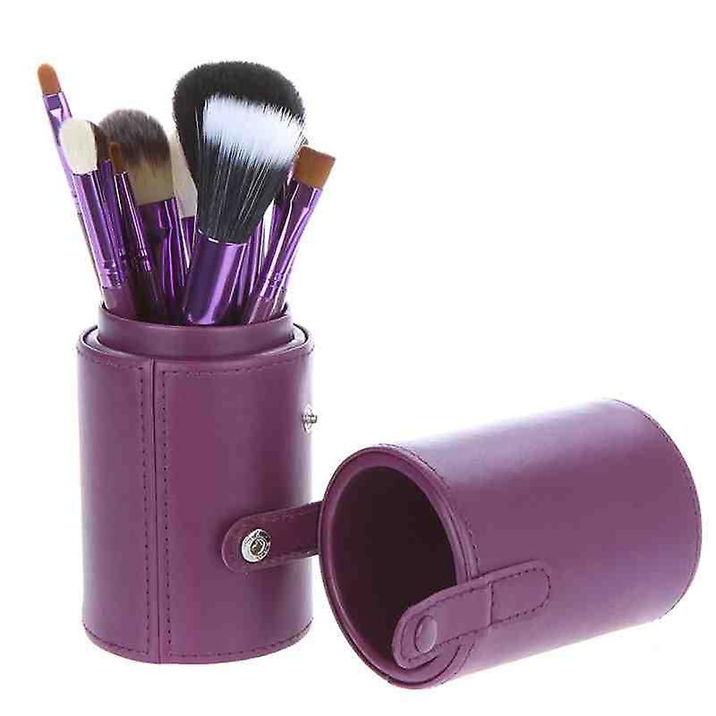 12 Make Up  Brushes Purple Leather Cup Set - Goat /Pony /Synthetic Hair Aluminium Ferrule Natural Wood Handle