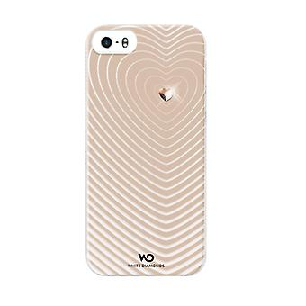 5 pack - witte diamanten Heartbeat Case voor Apple iPhone 5/5s (goud)