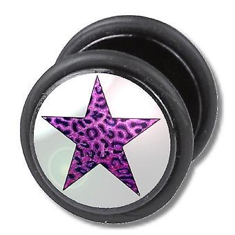 Fake Cheater Ear Plug, brinco, corpo joias, leopardo roxo estrela