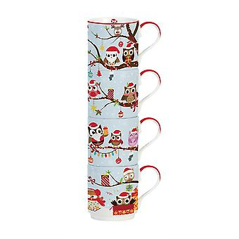 Stow Green Owl Family Stacking Mug Set of 4