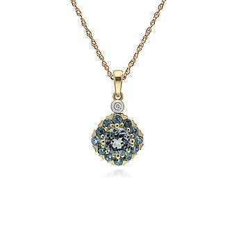 Gemondo 9ct Yellow Gold Round Blue Topaz & Diamond Square Cluster 45cm Necklace