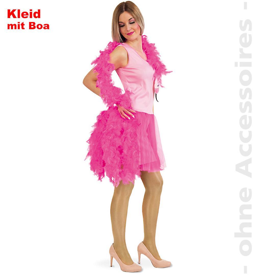 Flamingo Kostüm Damen Federboa Tüllkleid Pink Lady Paradies Vogel Damenkostüm