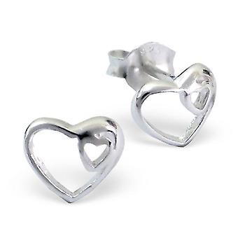 القلب - 925 ستيرلينغ الفضة عادي الأذن ترصيع - W8511x