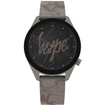 Hype | Heren warm grijs siliconen band | Zwarte wijzerplaat | HYG005BR horloge