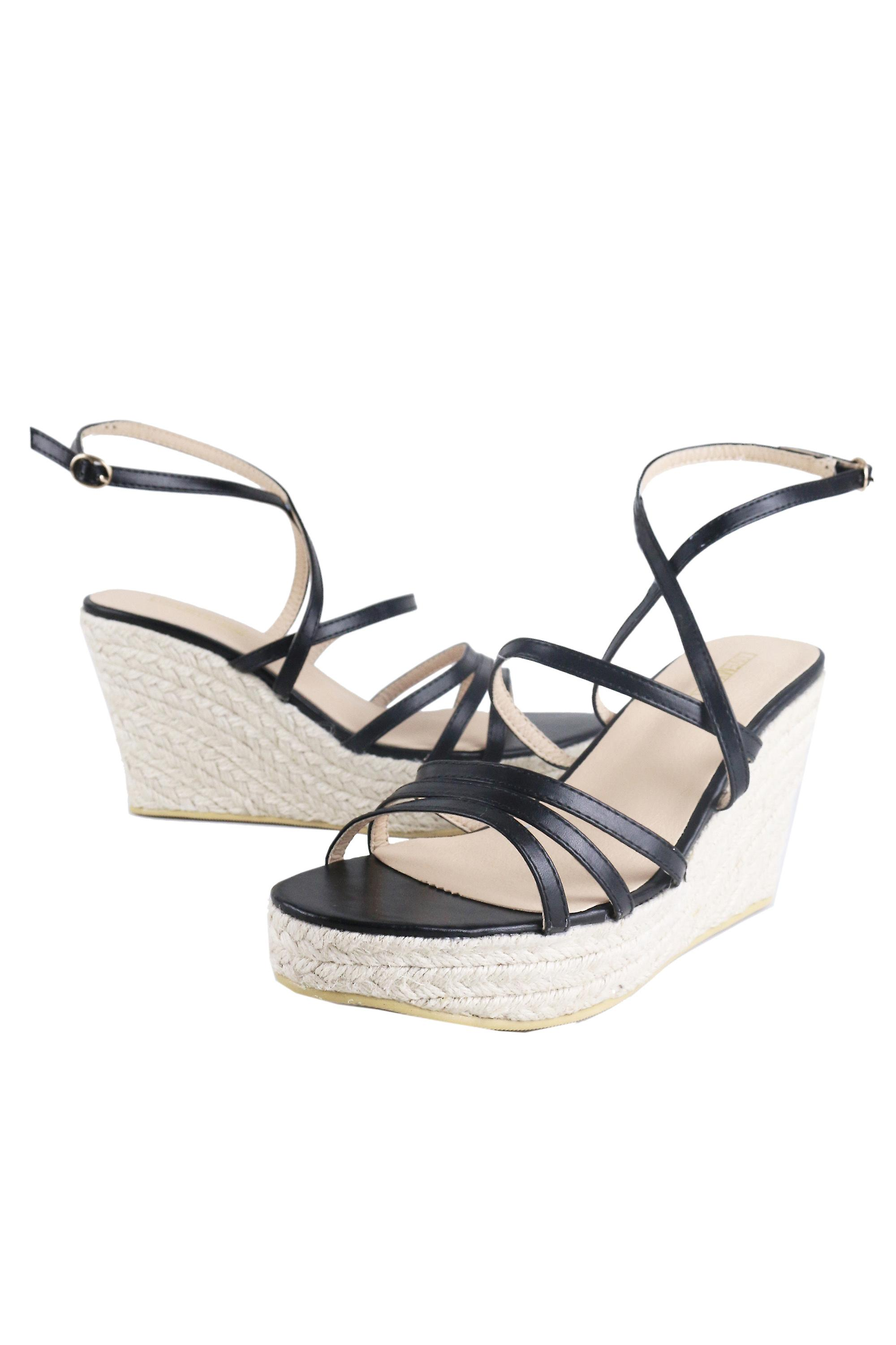 LMS Black Strappy Wedged Sandals With Rope Detail Soles