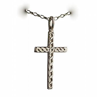 9ct Gold 29x17mm embossed Celtic knot design Cross with a belcher Chain 24 inches