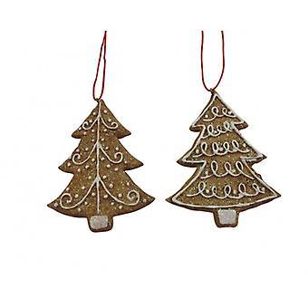 Set di 2 Gisela Graham Gingerbread Decorazioni di Natale