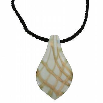 Murano Glass naszyjnik liść wisiorek czarny napis biżuteria ręcznie malowane