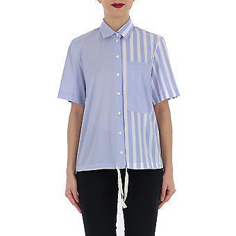 Semi-couture S9pk08l320 Women's Light Blue/white Cotton Shirt