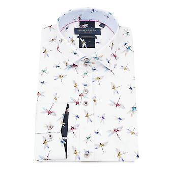 Guia de Londres libélula impressão manga longa camisa dos homens puro algodão
