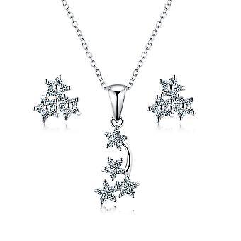 925 sterling zilver Shooting Stars hanger ketting & amp; Oorbellen set