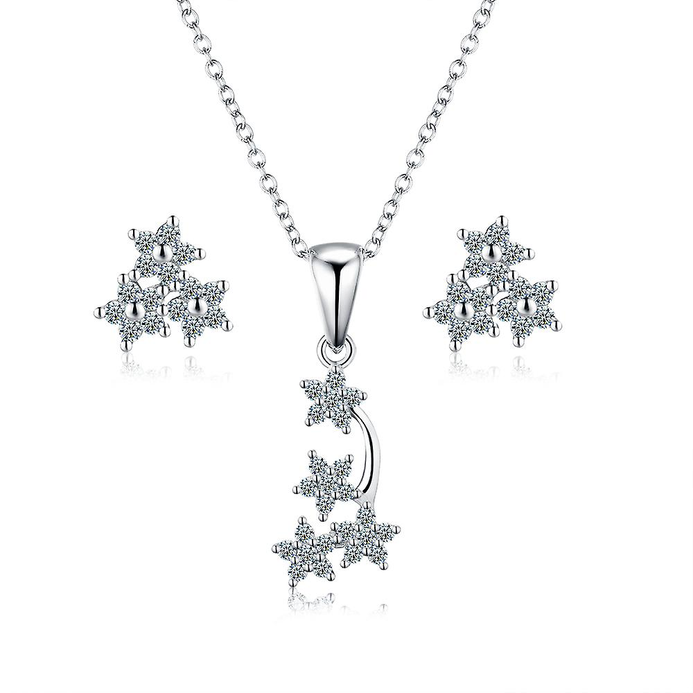 925 Sterling Silver Shooting Stars Pendant Necklace & Earrings Set
