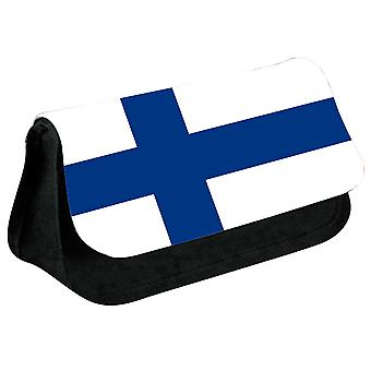 Finland Flag Printed Design Pencil Case for Stationary/Cosmetic - 0060 (Black) by i-Tronixs