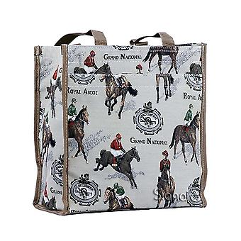 Horse racing reusable shopper bag by signare tapestry / shop-rac