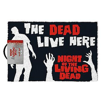 Night of the Living Dead doormat The Dead Live Here black, made of coconut fibre, bottom of PVC.