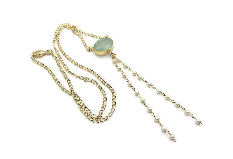 Handmade Long Chalcedony Pendant Y so Delicate Y-Shaped Necklace