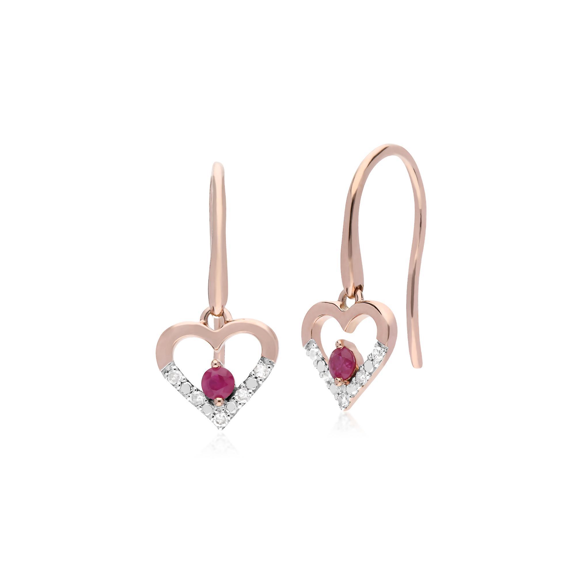 Gemondo 9ct Rose Gold Single Ruby & Diamond Heart Drop Earrings