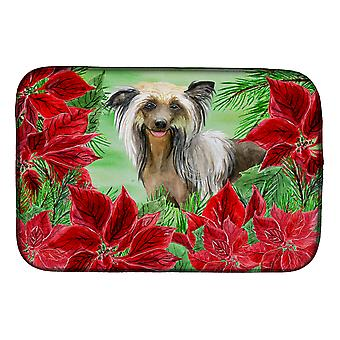 Carolines Treasures  CK1307DDM Chinese Crested Poinsettas Dish Drying Mat
