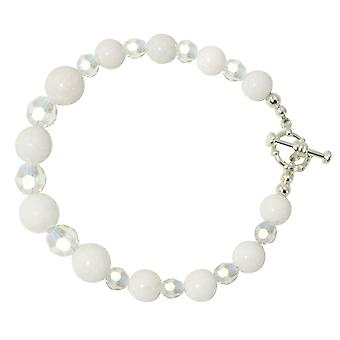 Eeuwige collectie Enchantment witte berg Jade en AB Crystal Silver Tone armband