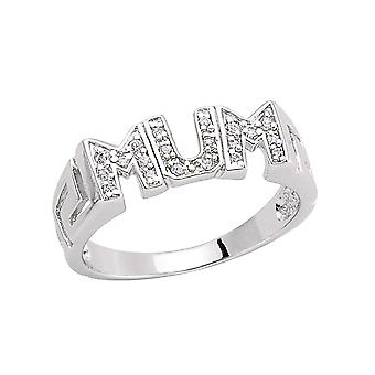 Jewelco London Rhodium Plated Sterling Silver Round Brilliant Cubic Zirconia Greek Key Pave MUM ID Signet Ring