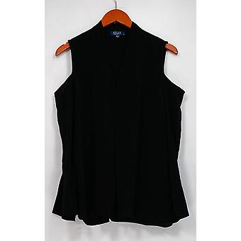 Kelly by Clinton Kelly Top Cold Shoulder V-Neck Woven Black A297933