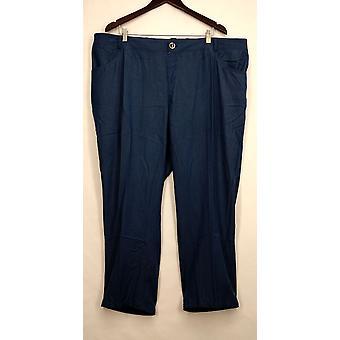 IMAN Petite broek 3XP skinny been knoopte Gepocketed blauwe Womens