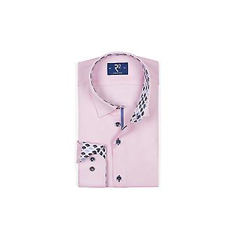 R2 Long Sleeved Hidden Button Down Shirt Pink