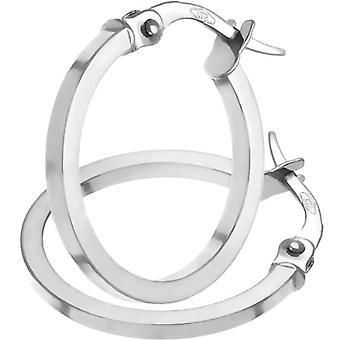 Citerna Women's Hoop Earrings - White Gold 9 Carats 375 - Simple