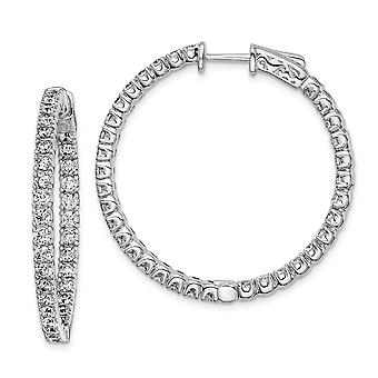 925 Sterling Silver Polished Hinged hoop Safety clasp CZ Cubic Zirconia Simulated Diamond Round Hoop Earrings Jewelry Gi