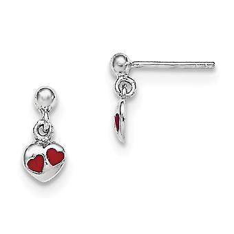 925 Sterling Silver RH chapeado para meninos ou meninas vermelho esmaltado coração oscilar brincos-1,1 gramas