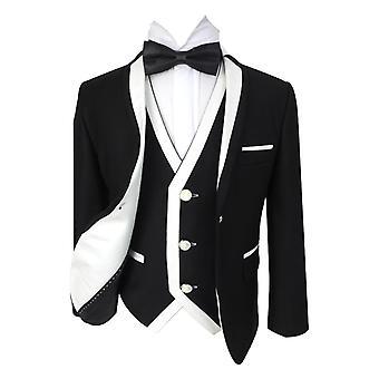 Boys Exclusive Black & White Single Button Tuxedo Suit