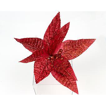 Large 26cm Glitter & Sequin Embellished Poinsettia Flower for Floristry Crafts