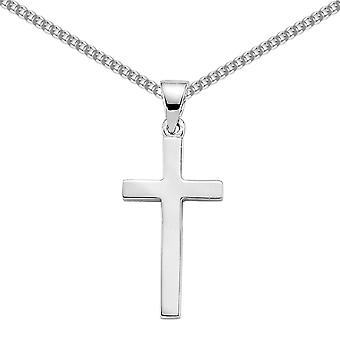 Jewelco London Rhodium Plated Sterling Silver Polished Cross Pendant Necklace 18 inch