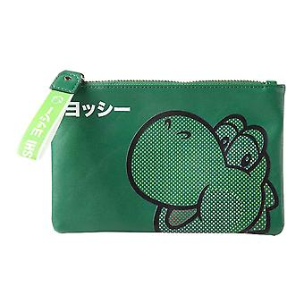 Super Mario Coin Purse Yoshi Face Japanese Logo new Official Nintendo Green