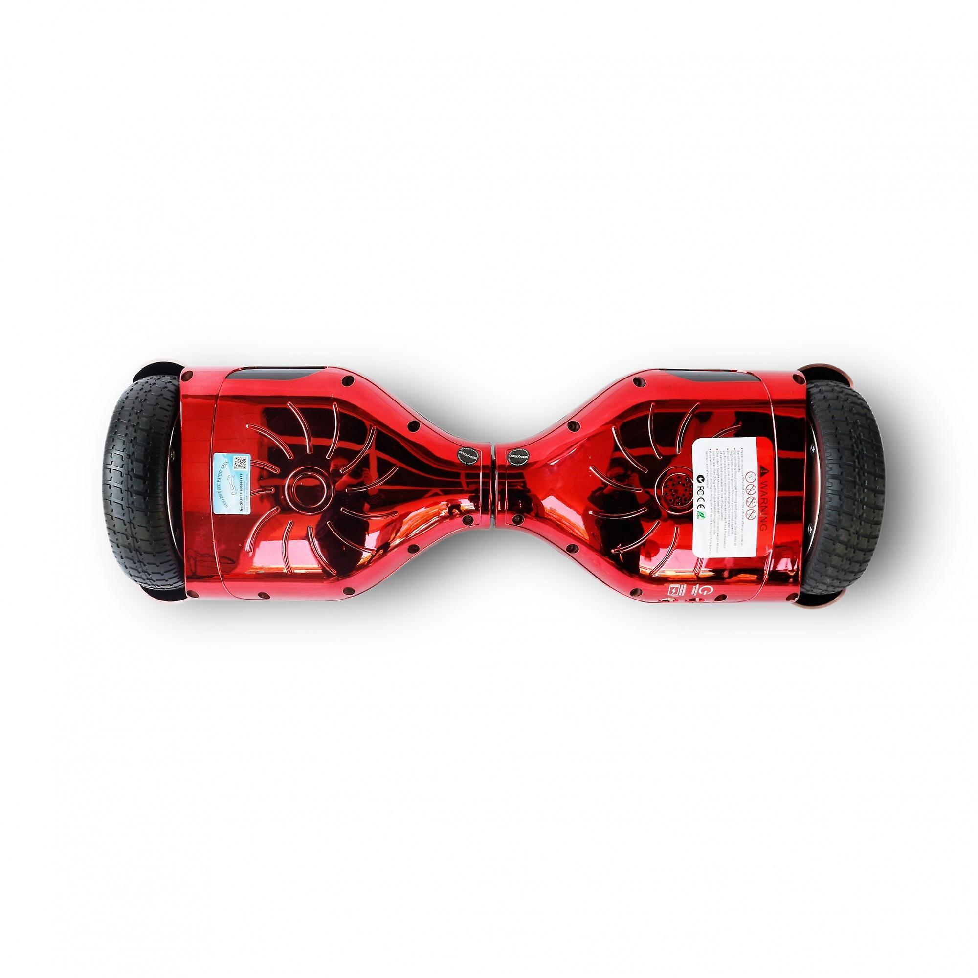 Hoverboard Skateflash K6 chroom rood Bluetooth + transport tas