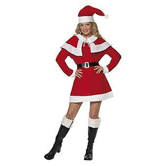 Womens Miss Santa Fleece Fancy Kleid Kostüm