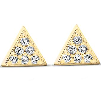 14k Yellow Gold Triangle Pave .12Ct Diamond Delicate Spike Studs Boucles d'oreilles pour femmes