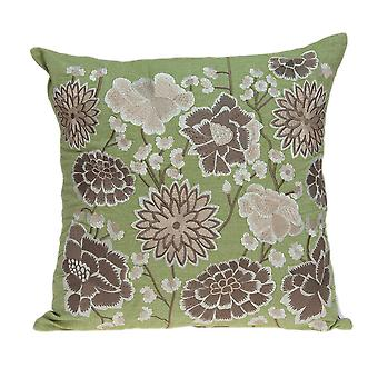 "20"" x 7"" x 20"" Cool Tropical Green Pillow Cover With Down Insert"