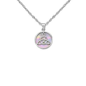 Celtic Holy Trinity Knot Round Collier Pendentif - Mother Of Pearl - Inclut un 16'quot; Chaîne d'argent