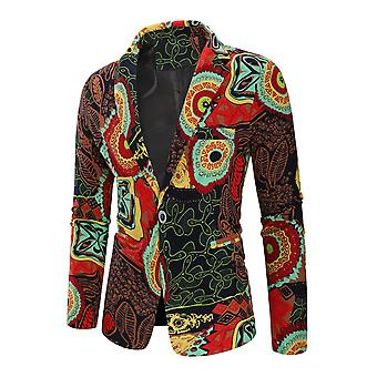 Allthemen Men's Casual Stylish One-button Printed Feather Pattern Blazer