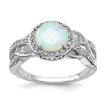 Cheryl M 925 Sterling Silver Cubic Zirconia en Gesimuleerde Opal Ring Sieraden Geschenken voor vrouwen - Ring Size: 6 tot 8