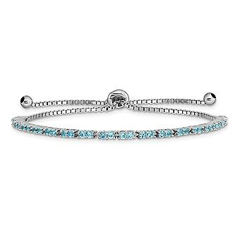 925 Sterling Silver Rhodium plaqué Décembre Light Blue CZ Cubic Zirconia Simulated Diamond Adj Bracelet Bijoux Cadeaux fo